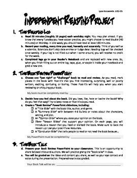 PowerPoint Book Report, Book Review, or Independent Reading Project