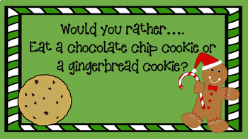 "PowerPoint Christmas Themed - ""Would You Rather"" slideshow"