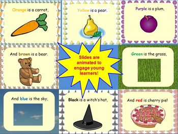 Orange is a Carrot Color Words Lesson PowerPoint & Printables (Common Core!)
