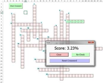 PowerPoint Crossword - Self Grading Excel File & Printable