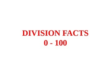 PowerPoint Division Facts 0 - 10 Drills, Flash Cards