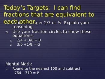 PowerPoint Entry Tasks - Fractions EDITABLE