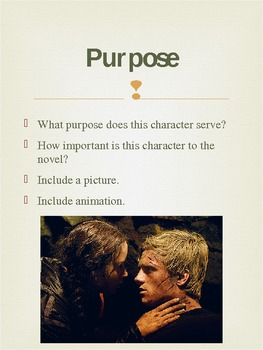 PowerPoint Example of Hunger Games Character Analysis Project