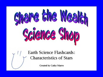 Earth Science Reference Table Flashcards: Characteristics of Stars