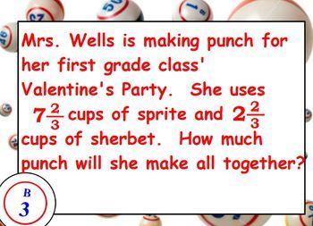 PowerPoint Fraction Bingo Game 5 - 9 grade