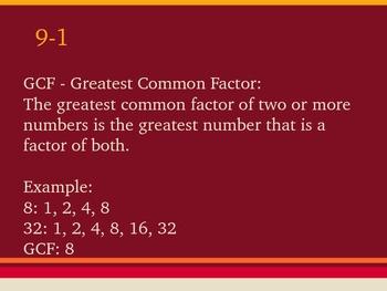 PowerPoint Fraction Review (GCF, prime, composite, simplest form, etc.)