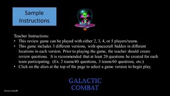 PowerPoint Game:  Galactic Combat Interactive Game