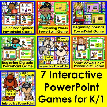 PowerPoint Games Bundle:  Interactive for Kindergarten and First Grade ELA