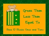 PowerPoint: Greater Than Less Than or Equal To With Base 10 Blocks Game