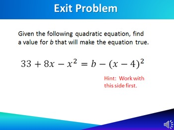 PowerPoint High School Algebra CCSS  A-SSE Equation