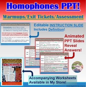 PowerPoint: Homophones in News Headlines Interactive Practice