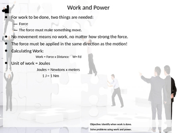 PowerPoint Introduction to work and power with examples and practice problems