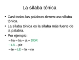 PowerPoint: La silaba tonica / Finding the stressed syllable