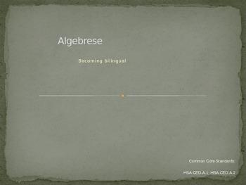 PowerPoint Lesson Common Core Algebra Language Problem Solving