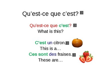 PowerPoint Lesson. Identify fruit and vegetables (What is it?). The verb TO BE