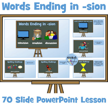 PowerPoint Lesson On Words Ending In The Suffix 'sion' and