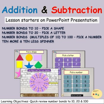 PowerPoint Lesson Starters Number Bonds to 10 20 and multiples of 10 to 100