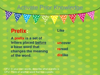 PowerPoint Lesson on Review of Prefixes and Suffixes