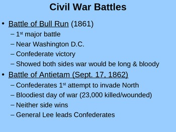 PowerPoint Notes for USS Guide for Civil War and Reconstruction