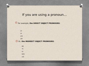 PowerPoint Present Progressive with Direct and Indirect Object Pronouns