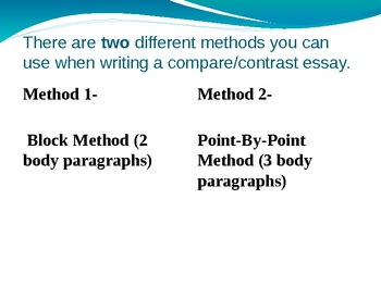 compare contrast essay using block method