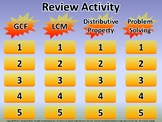 GCF, LCM, and Distributive Property Review PowerPoint Game - Editable Version
