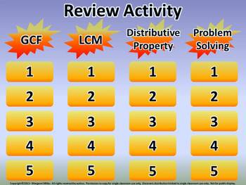 PowerPoint Presentation: GCF, LCM, and Distributive Proper