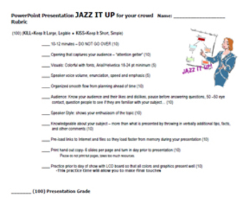 PowerPoint Presentation JAZZ IT UP! - Rubric