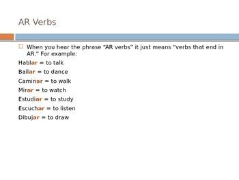 PowerPoint Presentation: Present Tense Regular AR, ER, and IR Verbs