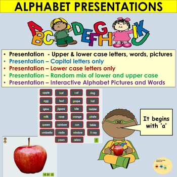 Alphabet PowerPoint Presentations, Upper/Lower cases, Picture Letter Match