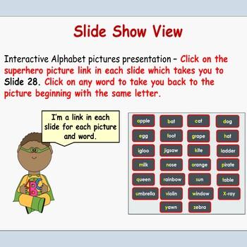 Interactive Alphabet PowerPoint Presentations, Upper/Lower cases,
