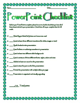 PowerPoint Project Grading Checklist