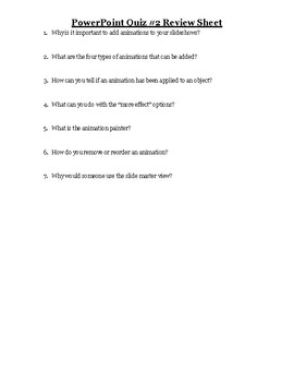 PowerPoint Quiz #2 Review Sheet