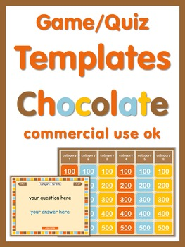 PowerPoint Quiz or Game Templates Chocolate  Commercial Use OK