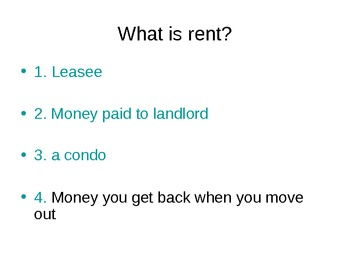 PowerPoint Quiz on Apartments - Life Skills