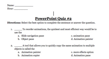 PowerPoint Quizzes & Review Sheet BUNDLE