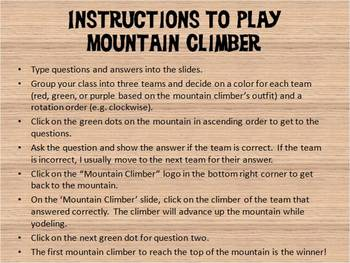 PowerPoint Review Game – Mountain Climber