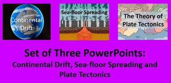 PowerPoint Set of :  Continental Drift, Sea-floor Spreading, and Plate Tectonics