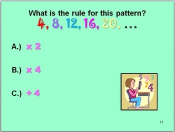 Patterns and Algebraic Thinking Math Slide Show for Grades 3 and 4