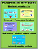 Math for Grades 3-4 PowerPoint Slide Show BUNDLE - Math Vocabulary