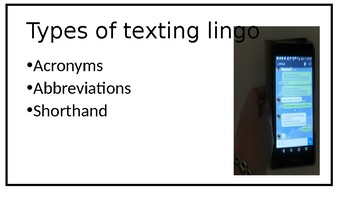 PowerPoint Slides on Texting in English for English Language Learners