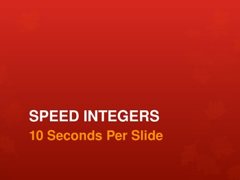 Speed Integers Set 3 - Add, Sub, Mult, Div Practice