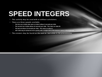 Speed Integers Set 4 - Add and Sub Positive and Negative Integers