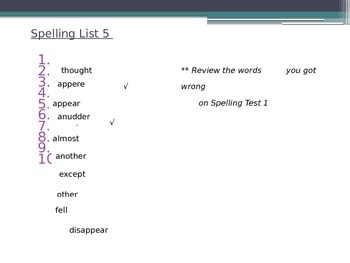 PowerPoint Spelling Test Activity