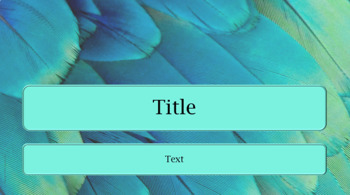 PowerPoint Template Blue Green Feather Background Pretty Professional Unique