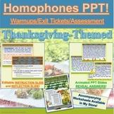 PowerPoint: Thanksgiving Homophones Interactive Practice