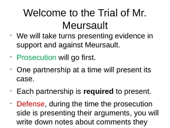 PowerPoint The Trial of Meursault from Camus' The Stranger