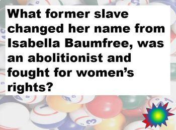 PowerPoint US Reform Movement of the 19th Century Bingo Game