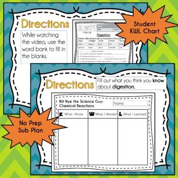 Bill Nye DIGESTION - Video Guide, Quiz, Sub Plan, Worksheets, No Prep, Lesson