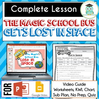 Magic School Bus GETS LOST IN SPACE Video Guide, Sub Plan, Worksheets, Lesson